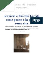Leopardi e Pascoli. Poesia come vita e vita come poesia.