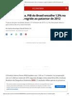 Com pandemia, PIB do Brasil encolhe 1,5% no 1º trimestre e regride ao patamar de 2012 _ Economia _ G1