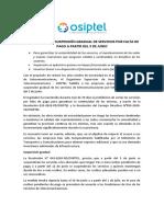 NP N° 029 OSIPTEL HABILITÓ SUSPENSIÓN GRADUAL DE SERVICIOS POR FALTA DE PAGO A PARTIR DEL 3 DE JUNIO