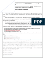 avaliação portugues 6º ano 4º bimetre