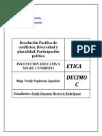 ETICA Segundo periodo Resolución Pacífica de conflictos.