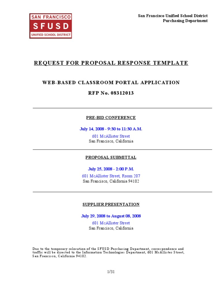 Rfp Response Template Technical Support Databases