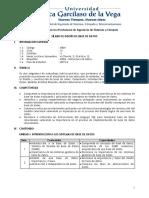 SÍLABO - DISEÑO DE BASE DE DATOS