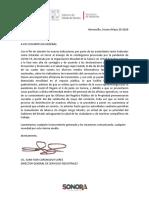 Comunicado Cierre Temporal Registro Público de la Propiedad Sonora