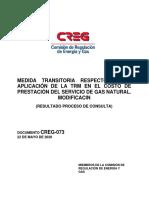 D-073-2020 MEDIDA TRANSITORIA RESPECTO DE LA APLICACIÓN DE LA TRM EN EL COSTO DE PRESTACIÓN DEL SERVICIO DE GAS NATURAL