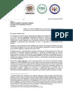Carta de Organizaciones Indígenas al Gobierno Peruano sobre situación de PPII