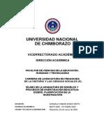 Silabo MODELOS Y PROCESOS DE INVESTIGACIÓN EDUCATIVA DISEÑO PLANIFICACIÓN DE LA INVESTIGACIÓN