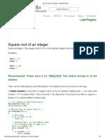 Square root of an integer - GeeksforGeeks