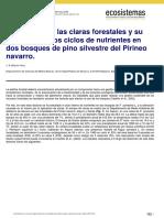 La práctica de las claras forestales y su  influencia en los ciclos de nutrientes en  dos bosques de pino silvestre del Pirineo  navarro.
