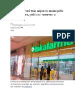 Alerta en Perú tras supuesto monopolio farmacéutico