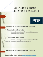 QUALITATIVE VERSUS QUANTITATIVE RESEARCH