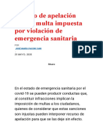 apelación contra multa impuesta por violación de emergencia sanitaria