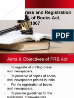 Press and Registration  of Books Act, 1867