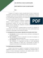 TRABALHO - A PESQUISA CIENTÍFICA E SUAS CLASSIFICAÇÕES