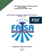 REVISÃO PARA ROTEIRO E ELABORAÇÃO DE MONOGRAFIA
