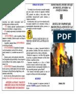 Reguli de comportare şi acţiune în caz de incendiu la locuinţe şi gospodării cetăţeneşti - Pliant
