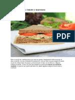 Receta de Sandwich de atún, pepino, tomate y mayonesa