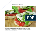 Receta de Sandwich de queso roquefort, tomate y albahaca