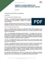 REGLAMENTO 1484 LICENCIAMIENTO EN ESTABLECIMIENTOS PRIMER NIVEL agosto 2012