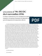 Décision n° 96-383 DC du 6 novembre 1996 _ Conseil constitutionnel