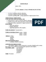 plan de lectie cls a 8a