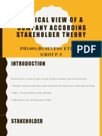 Ethical view of company according stakeholder theory- PHI 401