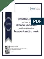 CERTIFICADO PROTOCOLO DE ATENCION Y SERVICIOS