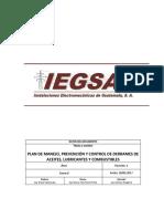 Plan de Manejo, Prevención y Control de Derrames de Aceites, Lubricantes y Combustible  IEGSA