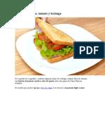 Receta de Sandwich de jamón, queso, tomate y lechuga