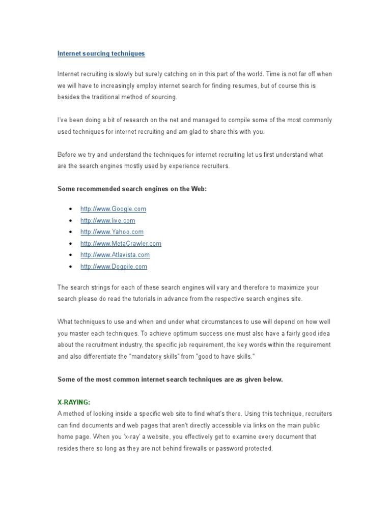 internet sourcing techniques web search engine résumé