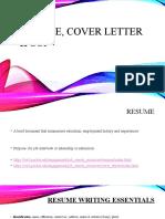 Resume, cover letter  SOP