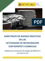 Directrices de buenas prácticas en actividades restauración entrega  a domicilio. 26.05.20