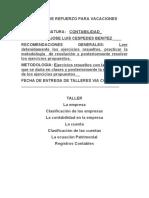 TALLER DE REFUERZO  DE CONTABILIDAD GRADO 7º PARA VACACIONES