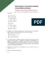 TALLER 4. SECCCIONES CONICAS Y SOLUCION DE SISTEMAS DE ECUACIONES NO LINEALES.
