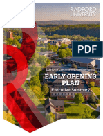 Radford University Early Opening Plan Executive Summary