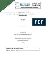 Balanceo de línea de producción en una compañía de manufactura - Entrega 2