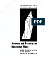 USBR Engineering Monograph No. 27, Moments and Reactions for Rectangular Plates