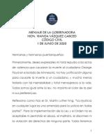 Mensaje de Wanda Vázquez sobre el Código Civil