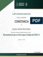 Constancia de Recomendaciones pra un retorno seguro al trabajo ante COVID-19