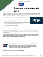 Signos y síntomas del cáncer de cuello uterino