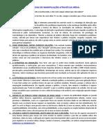 10 ESTRATÉGIAS DE MANIPULAÇÃO ATRAVÉS DA MÍDIA