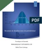 Resumen de distribuciones de probabilidad
