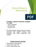 Additional Notes in Warehousing