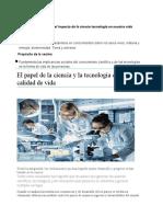 El papel de la ciencia y la tecnología en la calidad de vida