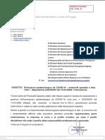 Nota di trasmissione protocolli operativi