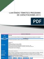 CONTENIDO TEMATICO PROGRAMA DE CAPACITACIONES 2015