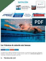 Tecnicas populares de natación