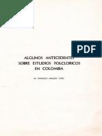 ANTECEDENTES DE ESTUDIOS DE FOLCLORE COLOMBIA