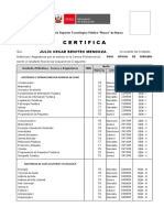 Certificado para BENITES MENDOZA JULIO TURISMO