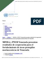 2017 - 2012  PNUD  MINEA y PNUD Resultados de cooperación para el fortalecimiento de áreas protegidas marinocosteras
